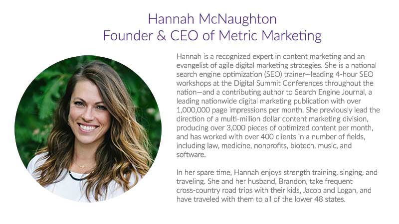 Hannah McNaughton Founder & CEO of Metric Marketing
