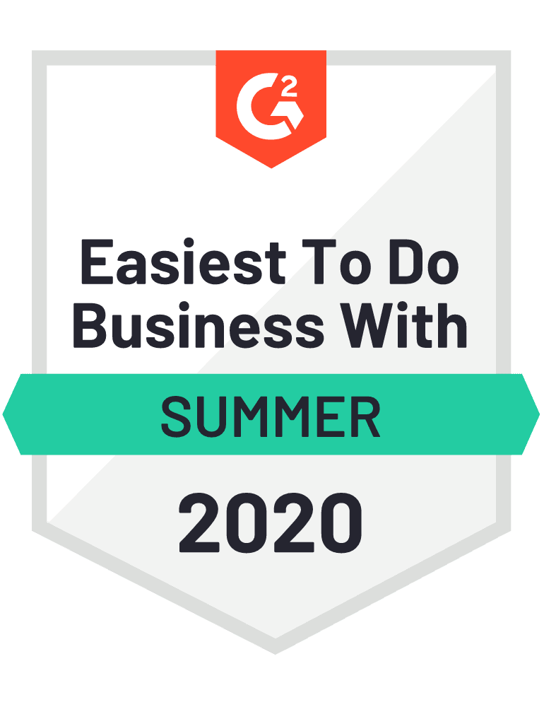 G2 Easiest to do Business With Summer 2020