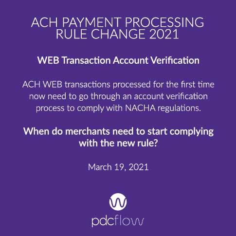 ACH payment processing rule change 2021: WEB Transaction Account Verification