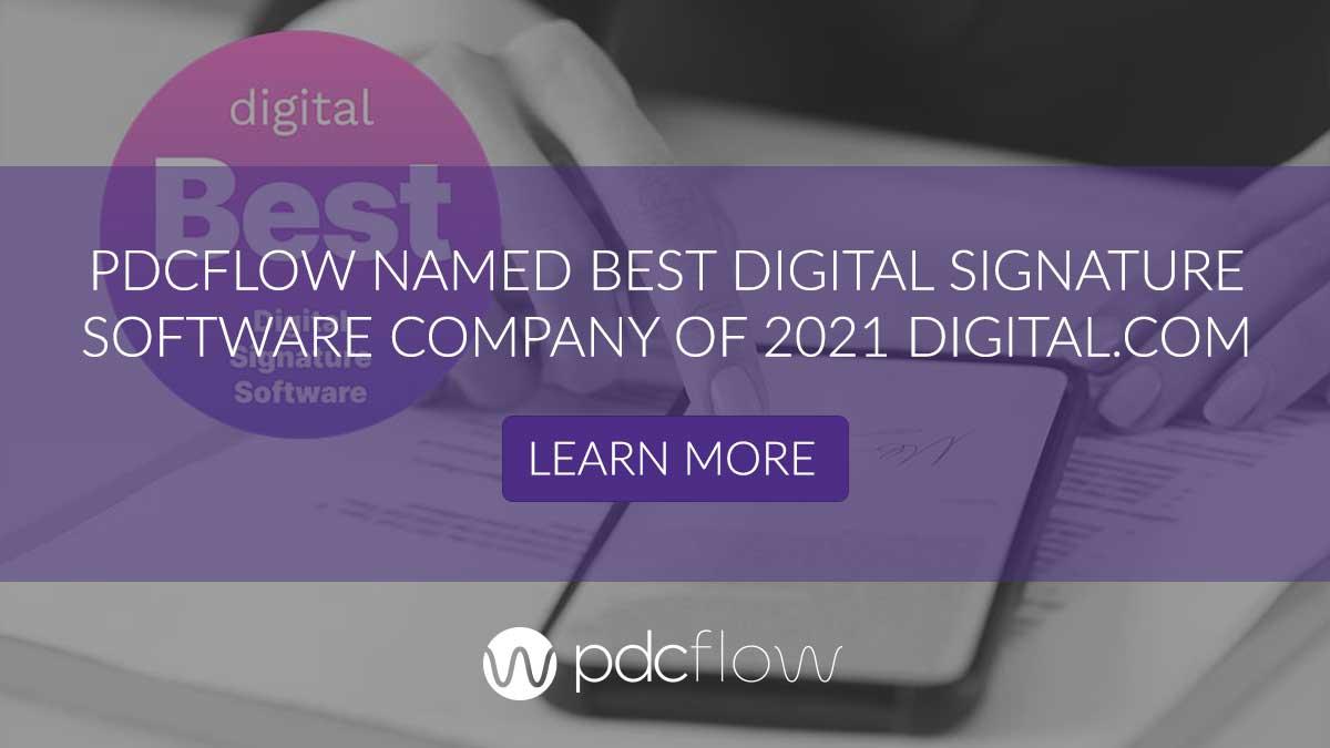 PDCflow Named Best Digital Signature Software Company of 2021 Digital.com