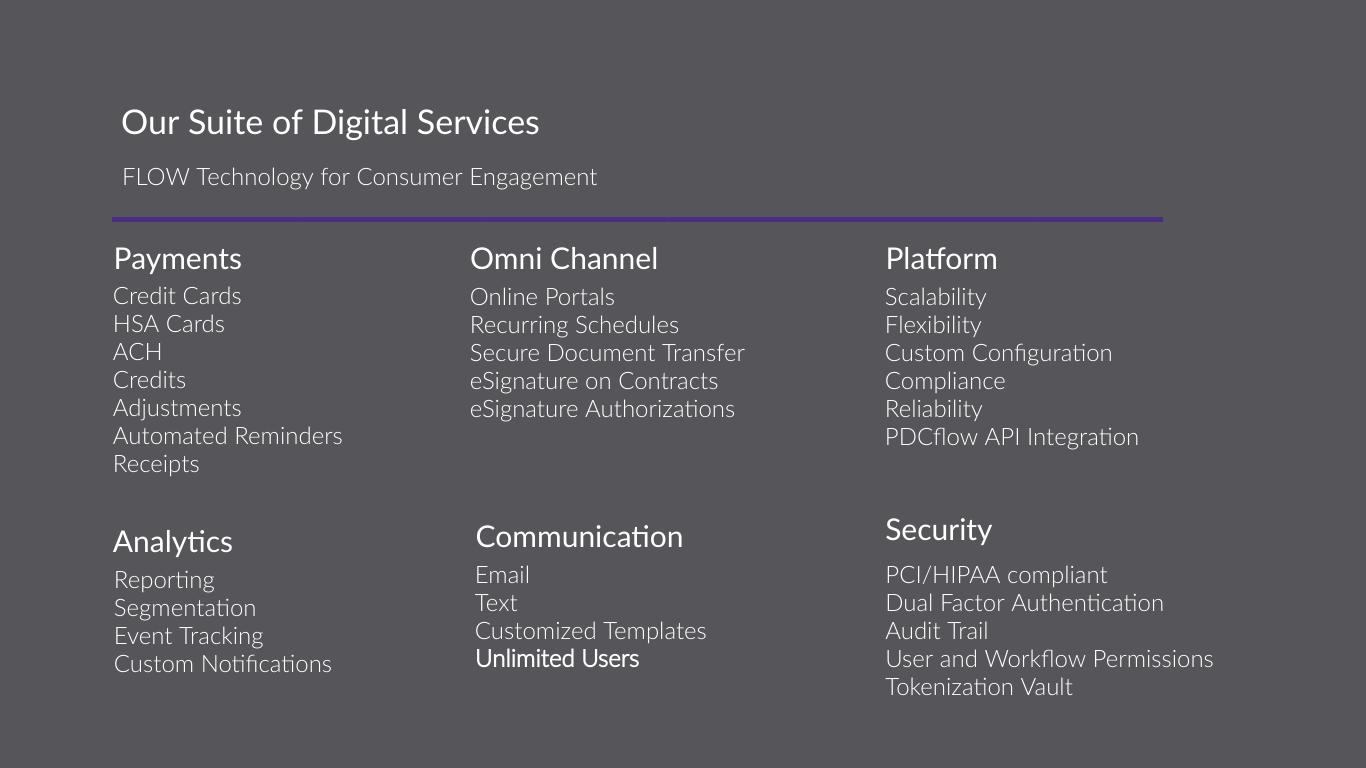 PDCflow Suite of Digital Services for Consumer Digital Engagement