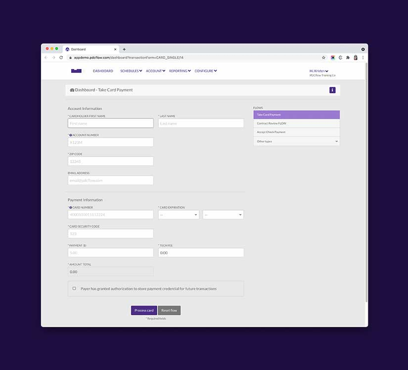 FLOW Workflow Management - Take a Payment